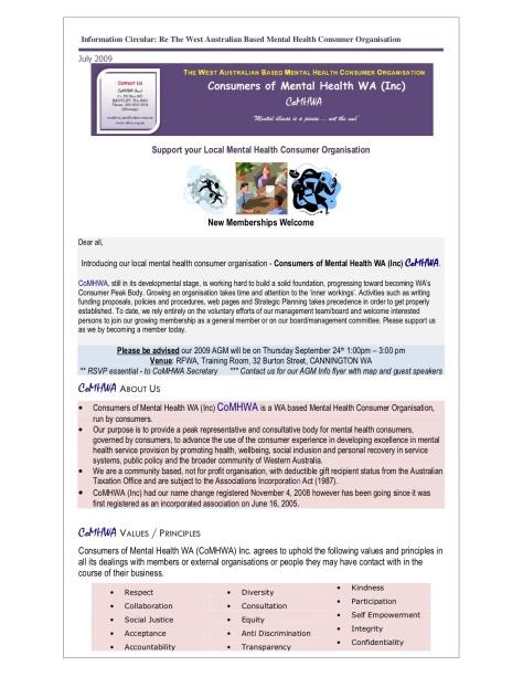 CoMHWA Information